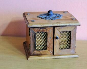 Vintage Set of 8 Wooden Coasters With Holder, Cork & Wood Drink Coasters