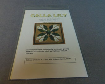 """Quilting Pattern, Hawaiian Quilt Pillow or Wall hanging Pattern 20"""" x 20"""" Calla Lily, Kilauea Kreations"""