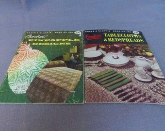 Crochet Patterns, Pineapple Designs and Tablecloths and Bedspreads, Coats and Clarks Book No 100 and 102, 1958
