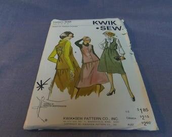 Woman's Skirt and Vest, Size 14, 16, 18, 20, Uncut Pattern, Kwik Sew 838