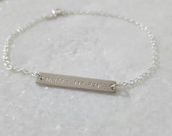 Latitude longitude coordinates bracelet | personalised bar bracelet | anniversary gift | wedding location | special place jewellery | 30th