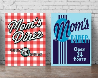mom's diner poster set A5-A0, large wall decal restaurant wall art, red blue print set decor for kitchen or restaurant minimalist poster 003