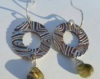 Textured Fine Silver discs with Tourmaline Drops