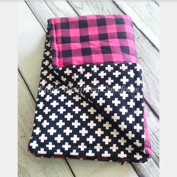 Child small plaid pink flannel print black and white flannel print comforting weighted blanket 8lbs