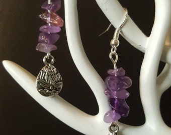 Purple Lotus - gemstones - Silver earrings - lotus - Japanese charm - Valentine's day