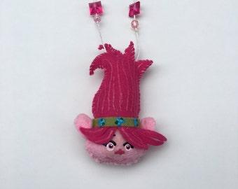 Troll necklace, poppy necklace