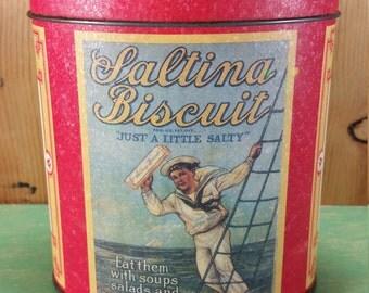 1992 NABISCO Saltina Biscuit Tin * NABISCO Brands, Inc. * Oval Metal Container * Home Kitchen Decor * Trinket Box