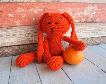 Knit bunny friend / crochet toy / amigurumi / Orange knit bunny