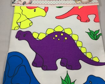 Vintage 1990s Daisy Kingdom Bright Neon Colored Dinosaur No Sew Appliqués