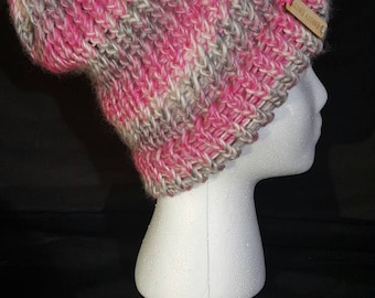 Pink and Grey Striped Beanie