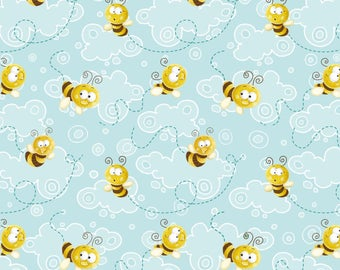 Aqua Clouds with Bees from the Frogland Friends Collection by Nidhi Wadhwa for Henry Glass Fabrics