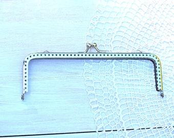 Metal Frame Kiss Clasp Silver 15.5 cm angular