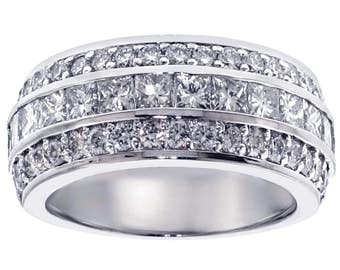2.00 CT Princess and Round Cut Diamond Wedding Band in 18K White/Yellow or Rose  Gold Channel and Pave Setting New!