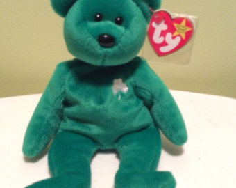 Ty Beanie Baby Erin Green Shamrock Plush Bear St Patricks Day Gift March 17th