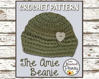001 - Baby Beanie Crochet PATTERN, 0-3 Month, Instant Download
