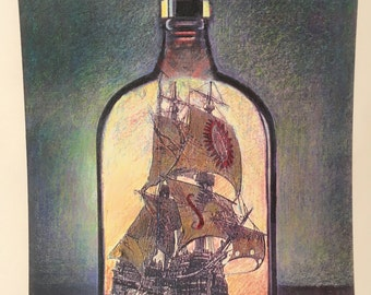 "Boat in bottle matted on cardstock. print of collage. 20"" x 15"""