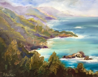 "Big Sur-original oil painting//California art//landscape// 12x9""// home decor// wall art//mountains and sea//"