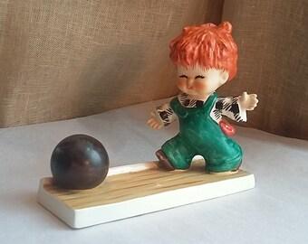 "Vintage Hummel, Charlot Byj, TMK-4 ""Strike"" Red Haired Boy Bowling"