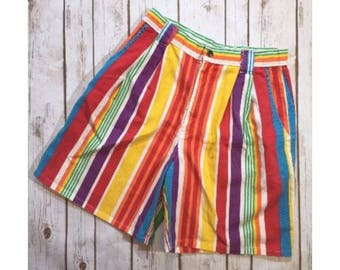Vintage Striped High Waisted Denim Shorts by Vivaldi Jeanswear, Size Womens 12, Bright Multi-Color Striped Shorts, 80s Shorts, 90s Shorts
