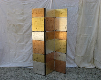 Screen with copper foil, brass and silver.