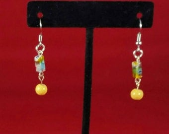 Yellow flower and bead earrings