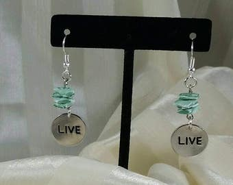 Handmade Earrings live with blue green colored shells