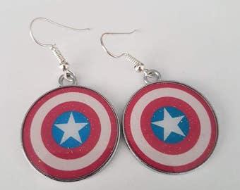 Captain America Shield Superhero Earrings