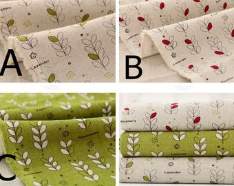 """Herb Leaves Patterned Linen Cotton Fabric made in Korea 45cm by 145cm or 18"""" by 57"""" by the Half Yard"""