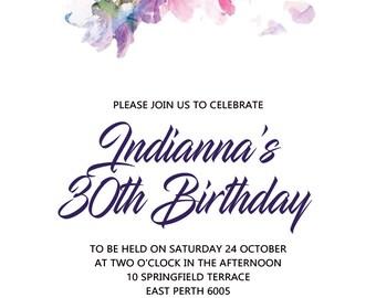 Floral 30th Birthday Invitation