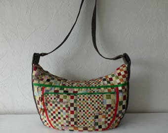 Handbag shoulder bag, multicolored jacquard fabric, patchwork, adventurer, trendy, handmade