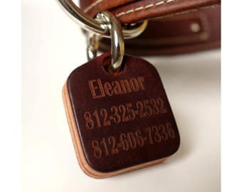 Leather Dog ID Tag-Personalized Pet tag laser engraved name and phone number