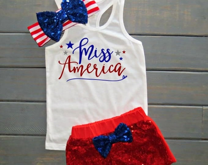 Miss America Outfit, Girls' Fourth of July Outfit, Independence Day Tank, 4th of July Shirt, Gifts For Girls, July Baby