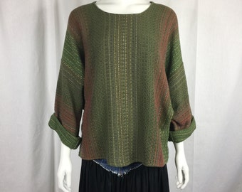 Vtg 80s Stewart Murrell handwoven fiber art batwing slouch dress top