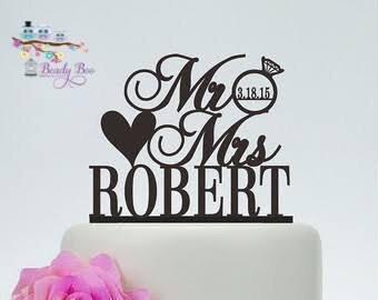 """Wedding Cake Topper   Custom Cake Topper  Personalised Cake Topper   Silhouette Cake Topper   Wooden Cake Topper - """"Mr&Mrs Surname"""""""