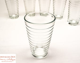 Vintage Drinkware | 6 Clear 8 oz. Glass Tumblers | Crisa Drinking Glasses by Libbey