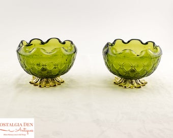 MCM Decorative Bowls | Duette Diamond Pattern | Indiana Glass