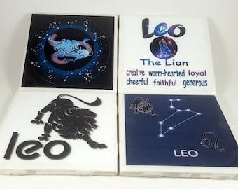 Leo Zodiac/Tile Coaster/Zodiac Signs/Constellation/Astrology/Horoscope/Leo Sign/Leo Astrology/Leo Horoscope/Astrology Signs/Leo Gifts