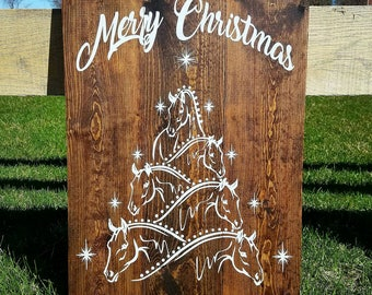 Merry Christmas Horse Tree Wood Pallet Sign- Rustic/Country/Equestrian/Happy Holidays/Gift