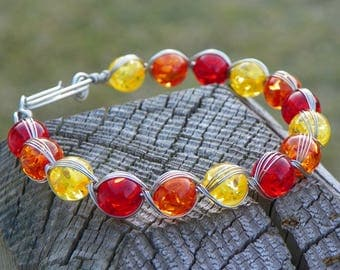 "Egyptian Wire Wrap Beaded Bracelet, 10"" Bracelet, Fall's Flaming Foliage, Red, Orange & Yellow"