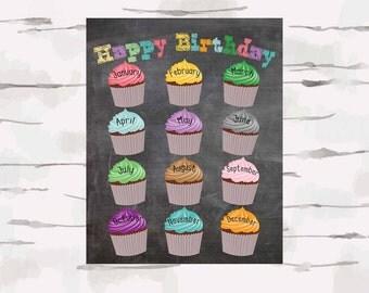 Chalkboard Happy Birthday Poster, Classroom Decoration, 16x20 jpg instant download