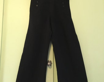 Vintage Navy Wool Sailor Pants Made by Naval Clothing Factory Highwaist Corset Laced Back Military Collectable Retrowear
