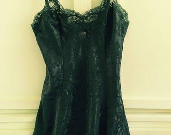 Vintage Victoria's Secret Jewel Tone Green Slip Ladies Size Small Vintage Lingerie 90's Chic Victoria's Secret