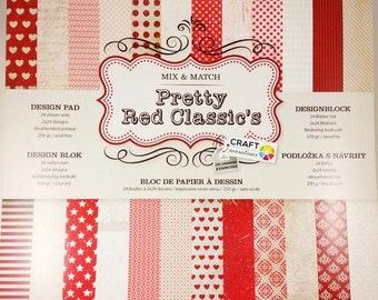 24 leaves block design paper for scrapbooking cardboard scrapbook paper pad red heart Valentine's day love (petry's red classic)