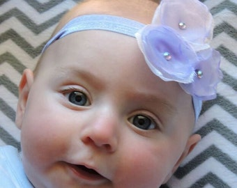 Floral Baby Headband- Lovely satin and organza triple flower with crystal accents headband/ clip