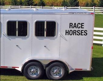 RACE HORSES Horsebox Vinyl Decals Stickers, any colour