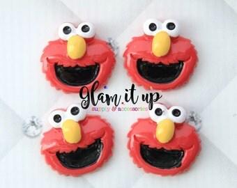 Elmo bow center-Elmo Center- Sesame street inspired Flatback resin- Elmo cabochon-elmo hair bow center-hair bow