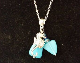 Sterling Silver, Seaglass necklace with Seahorse  charm