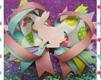 Colorful Easter Bunny Hair Bow