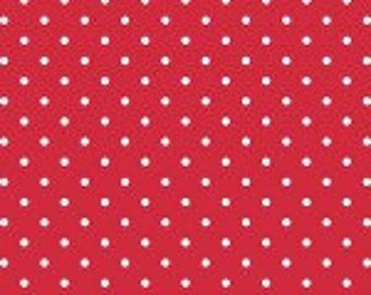 1 Yard small white Swiss Dot on Red,  Swiss Dots by Riley Blake Designs Collection C670R-80RED Red polka Dot, Crimson Polka dot