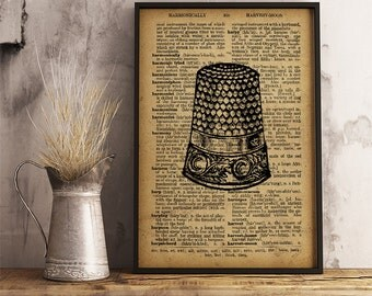 Vintage Thimble Print, Antique Sewing Thimble art poster, Dictionary art Print Old Thimble, Retro Thimble sewing workshop wall decor V22
